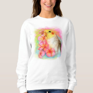 Cockatiel with frangipani sweatshirt