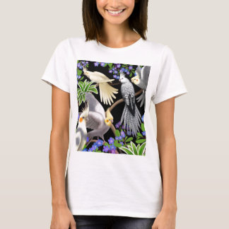 Cockatiels and Forget Me Nots Baby Doll T-Shirt