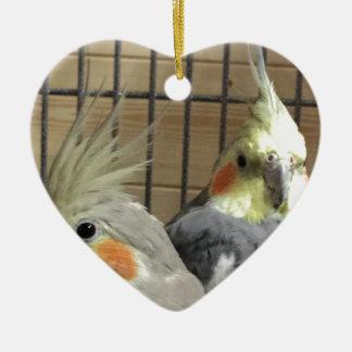 Cockatiels Ceramic Heart Decoration