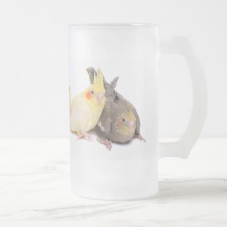Cockatiels Frosted Glass Beer Mug