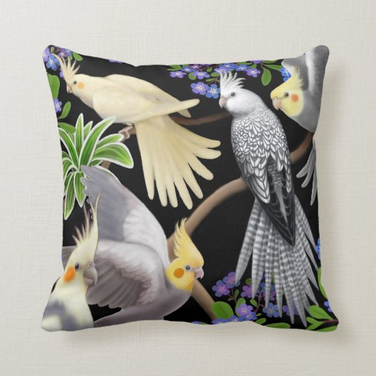 Cockatiels in Forget Me Nots Pillow