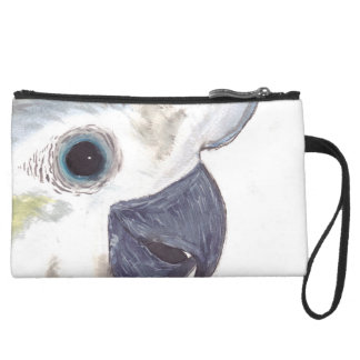 Cockatoo Cash Carrier Suede Wristlet