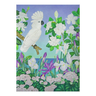 Cockatoo Gardenias and Iris Poster