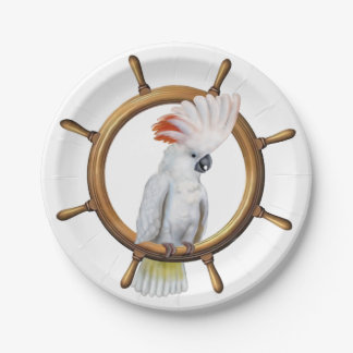 Cockatoo Pirate Parrot 7 Inch Paper Plate