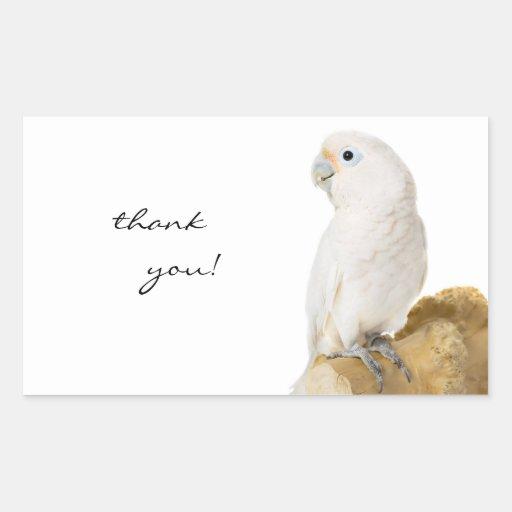 Cockatoo white parrot bird thank you stickers