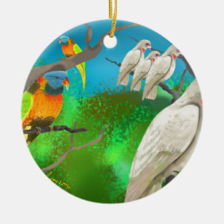Cockatoos and Friends Round Ceramic Decoration