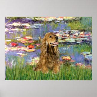 Cocker Spaniel (brown) - Lilies 2 Poster
