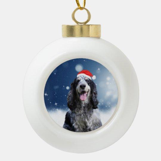 Cocker Spaniel Dog With Christmas Santa Hat Ceramic