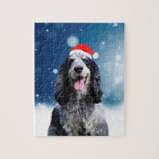 Cocker Spaniel Dog With Christmas Santa Hat Jigsaw Puzzle