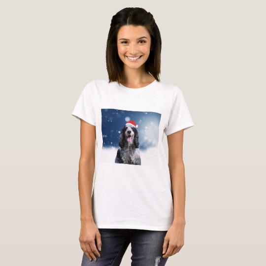 Cocker Spaniel Dog With Christmas Santa Hat T-Shirt