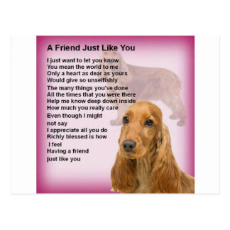 Cocker Spaniel - Friend Poem Postcard