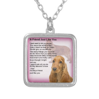 Cocker Spaniel - Friend Poem Silver Plated Necklace