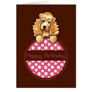 Cocker Spaniel Polka Hangtag Happy Birthday Greeting Card