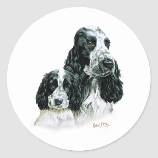 Cocker Spaniel & Pup Classic Round Sticker