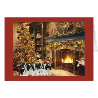 Cocker Spaniel Puppies Fireplace Christmas Card