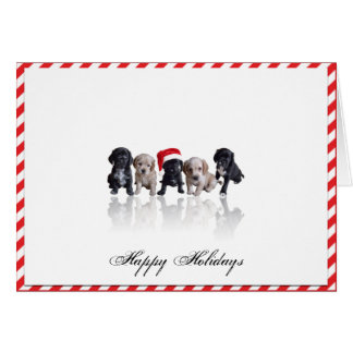 Cocker Spaniel Puppies in Santa Hat Christmas Card