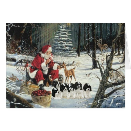 Cocker Spaniel Puppies Santa Woods Christmas Card