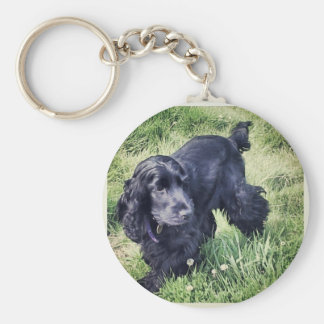 Cocker Spaniel Puppy Basic Round Button Key Ring