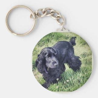 Cocker Spaniel Puppy Basic Round Button Key Ring