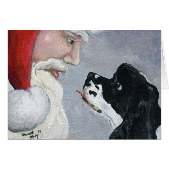 """""""Cocker Spaniel & Santa"""" Dog Art Greeting Card"""
