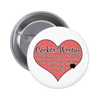 Cocker Westie Paw Prints Dog Humor Pinback Button