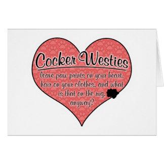 Cocker Westie Paw Prints Dog Humor Card