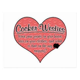 Cocker Westie Paw Prints Dog Humor Postcard