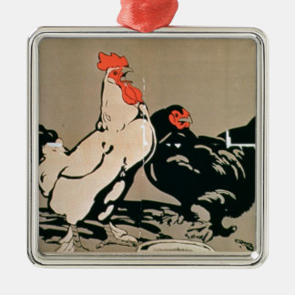 Cockerel and Hen (colour litho) Christmas Ornament