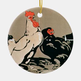 Cockerel and Hen (colour litho) Christmas Ornament