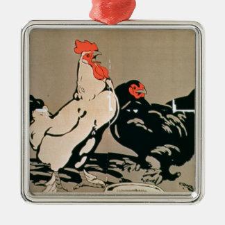 Cockerel and Hen (colour litho) Silver-Colored Square Decoration