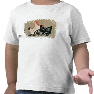 Cockerel and Hen colour litho Tee Shirt