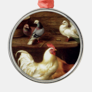 Cockerel Hen And Chicks With Pigeons Farm Animals Silver-Colored Round Decoration