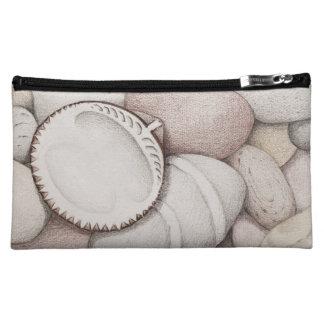 Cockle Sea Shells and Pebbles in Pencil Makeup Bag