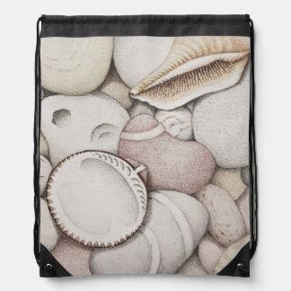 Cockle Shells & Pebbles in Pencil Drawstring Bag