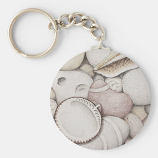 Cockle & Spiral Shells & Pebbles in Colour Pencil Key Ring