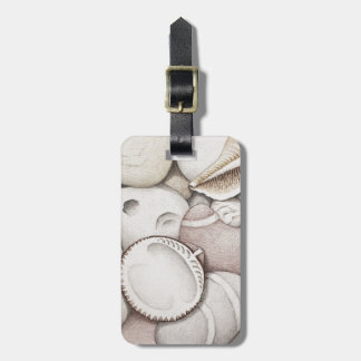 Cockle & Spiral Shells & Pebbles in Colour Pencil Luggage Tag