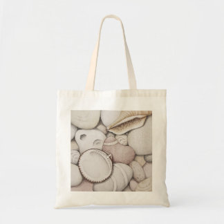 Cockle & Spiral Shells & Pebbles in Colour Pencil Tote Bag