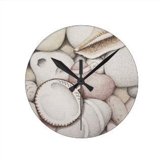 Cockle & Spiral Shells & Pebbles in Pencil Clock