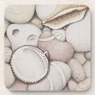 Cockle & Spiral Shells & Pebbles Plastic Coasters