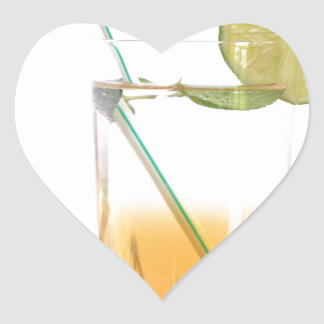 Cocktail Alcoholic Drink With Lime Peppermint Heart Sticker