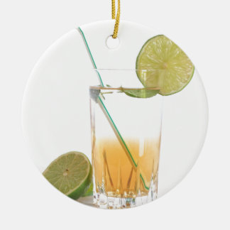 Cocktail Alcoholic Drink With Lime Peppermint Round Ceramic Decoration