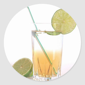Cocktail Alcoholic Drink With Lime Peppermint Round Sticker
