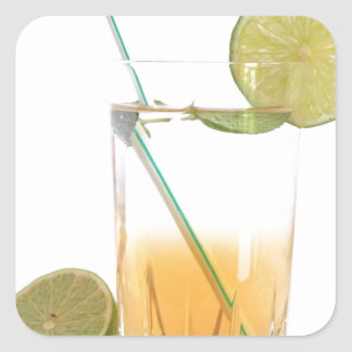 Cocktail Alcoholic Drink With Lime Peppermint Square Sticker
