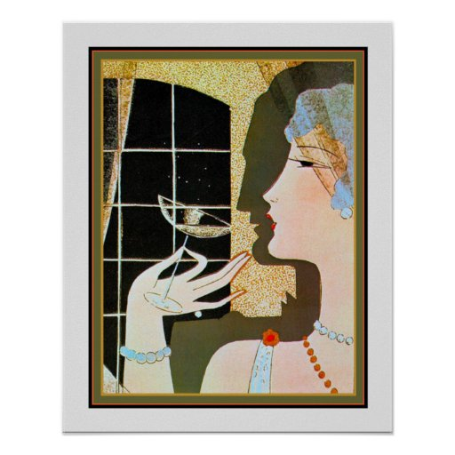 """Cocktail"" Art Deco Print by M. Gerard 16x20"