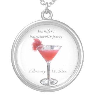 Cocktail Bachelorette Party Round Pendant Necklace