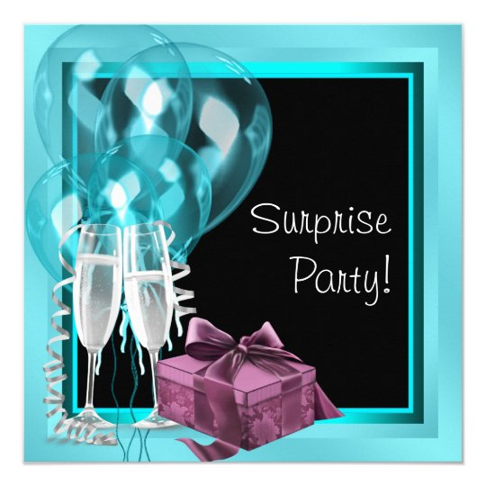 Cocktail Balloon Teal Blue Surprise Birthday Party Card