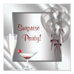 Cocktail Balloons Red Surprise Birthday Party Custom Announcements