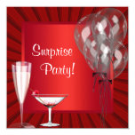 Cocktail Balloons Red Surprise Birthday Party Custom Invites