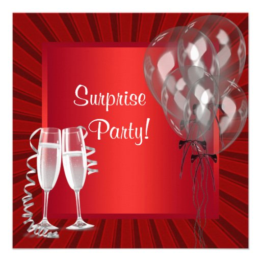 Cocktail Balloons Red Surprise Birthday Party Personalized Invite