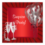 Cocktail Balloons Red Surprise Birthday Party Personalized Invitations